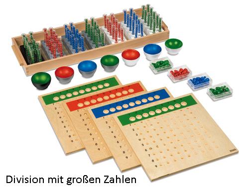 Montessori, große Division-handlungsorientiertes Material zur schriftlichen Division